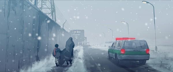 Elias and Pari walking through the Snow