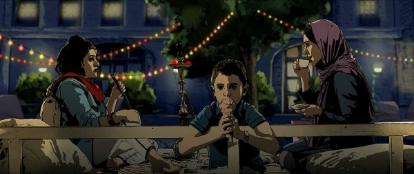 Pari, Elias and Sara in a Restaurant